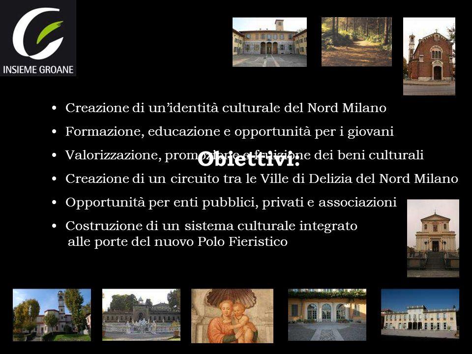 Obiettivi: Creazione di unidentità culturale del Nord Milano Formazione, educazione e opportunità per i giovani Valorizzazione, promozione e fruizione