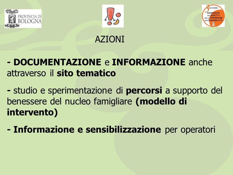 - DOCUMENTAZIONE e INFORMAZIONE anche attraverso il sito tematico - studio e sperimentazione di percorsi a supporto del benessere del nucleo famigliare (modello di intervento) - Informazione e sensibilizzazione per operatori AZIONI