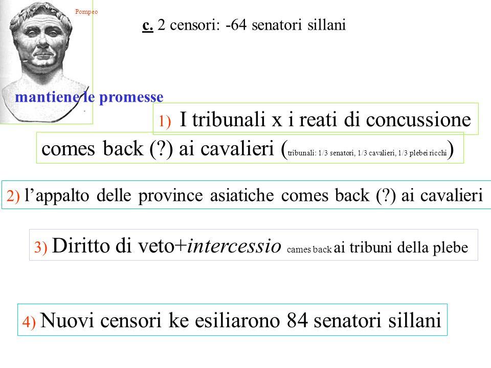 mantiene le promesse 1) I tribunali x i reati di concussione comes back (?) ai cavalieri ( tribunali: 1/3 senatori, 1/3 cavalieri, 1/3 plebei ricchi )