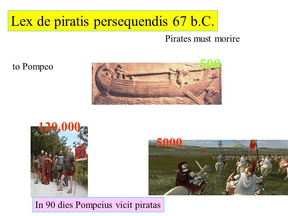 Lex de piratis persequendis 67 b.C. Pirates must morire 5000 120.000 500 to Pompeo In 90 dies Pompeius vicit piratas
