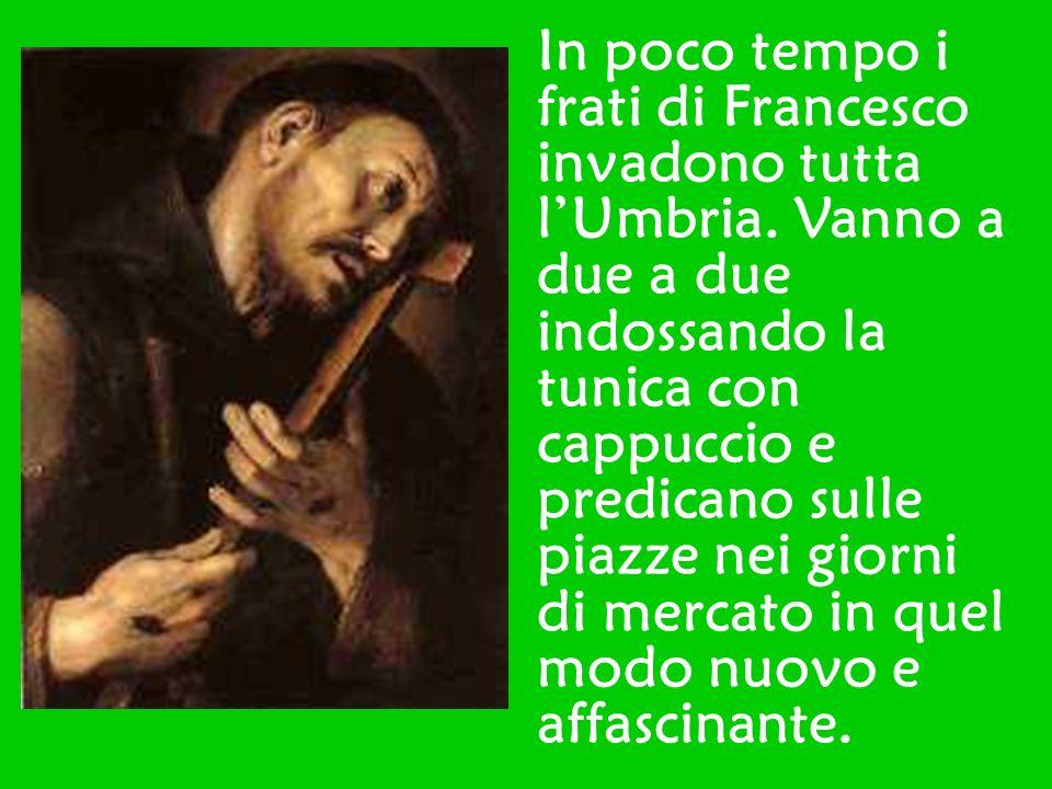 In poco tempo i frati di Francesco invadono tutta lUmbria. Vanno a due a due indossando la tunica con cappuccio e predicano sulle piazze nei giorni di