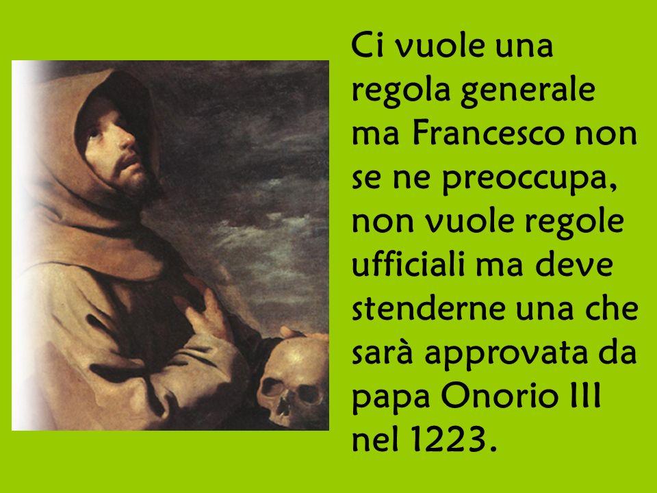 Ci vuole una regola generale ma Francesco non se ne preoccupa, non vuole regole ufficiali ma deve stenderne una che sarà approvata da papa Onorio III nel 1223.