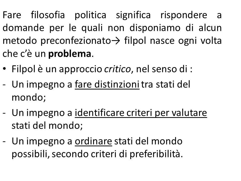 Fare filosofia politica significa rispondere a domande per le quali non disponiamo di alcun metodo preconfezionato filpol nasce ogni volta che cè un problema.