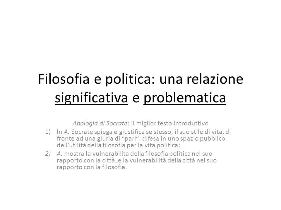 Filosofia e politica: una relazione significativa e problematica Apologia di Socrate: il miglior testo introduttivo 1)In A.
