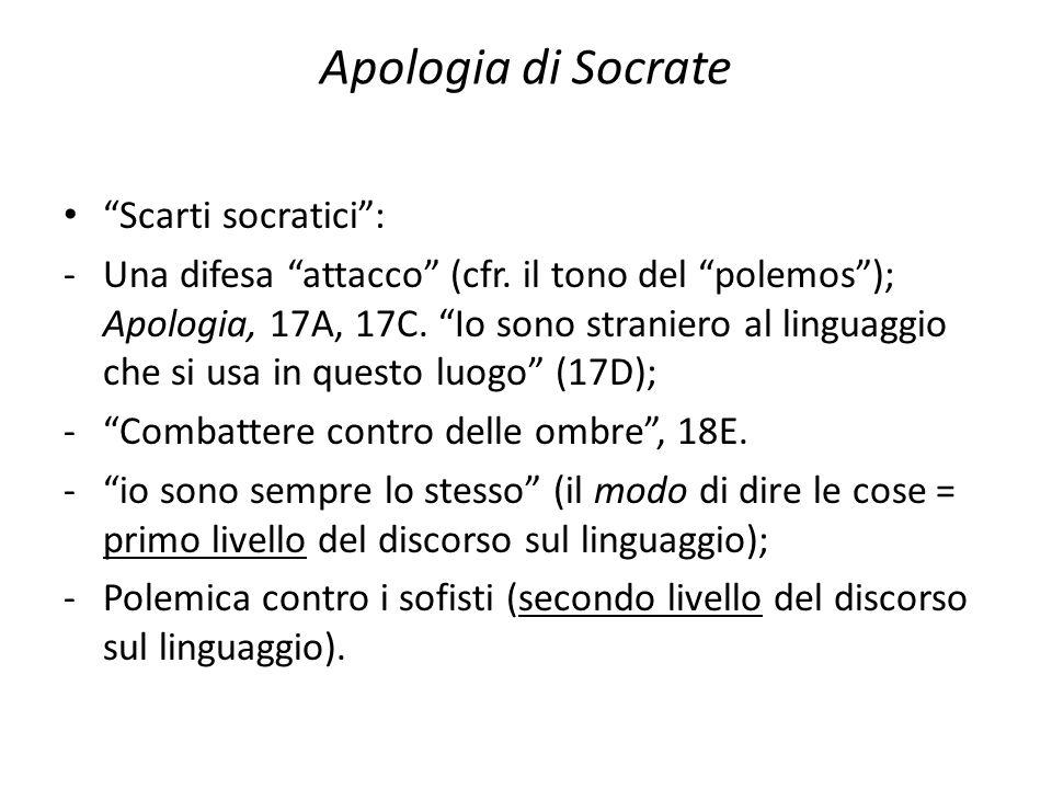 Apologia di Socrate Scarti socratici: -Una difesa attacco (cfr. il tono del polemos); Apologia, 17A, 17C. Io sono straniero al linguaggio che si usa i