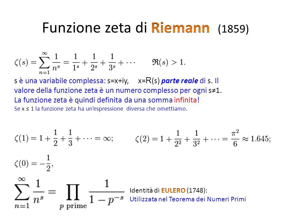 s è una variabile complessa: s=x+iy, x= R (s) parte reale di s. Il valore della funzione zeta è un numero complesso per ogni s1. La funzione zeta è qu