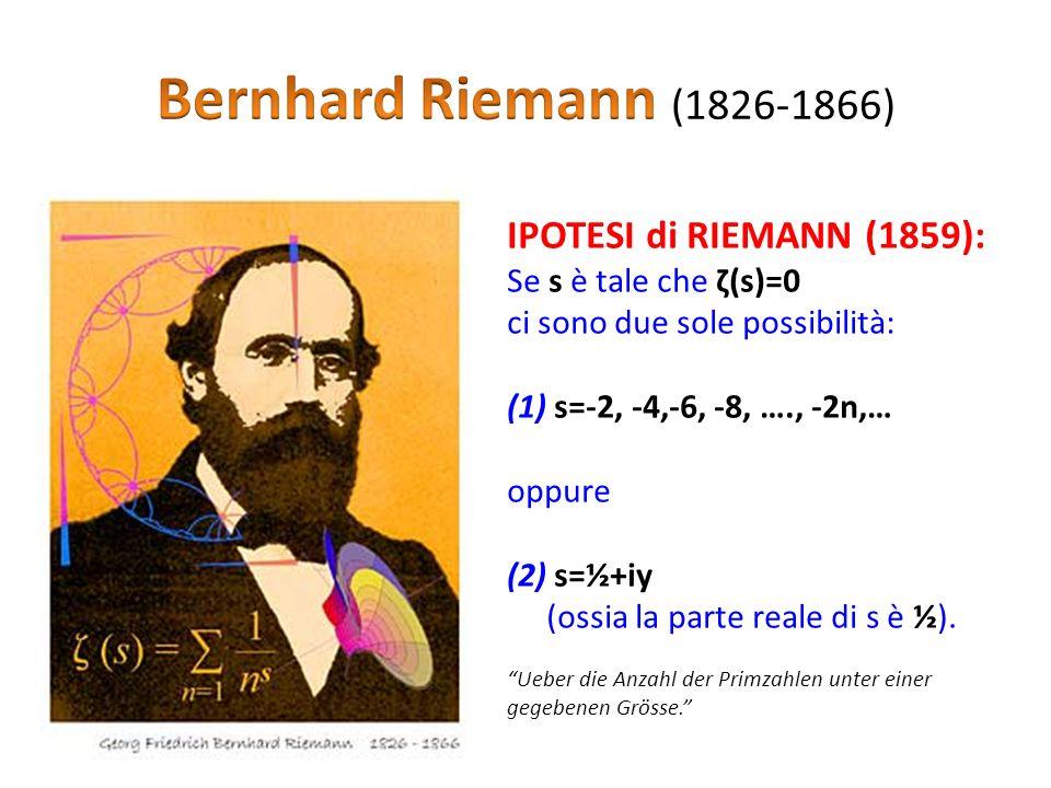 IPOTESI di RIEMANN (1859): Se s è tale che ζ(s)=0 ci sono due sole possibilità: (1) s=-2, -4,-6, -8, …., -2n,… oppure (2) s=½+iy (ossia la parte reale di s è ½).