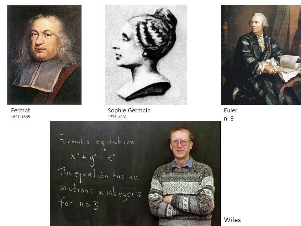 1 Fermat 1601-1665 Sophie Germain 1775-1831 Euler n=3 Wiles