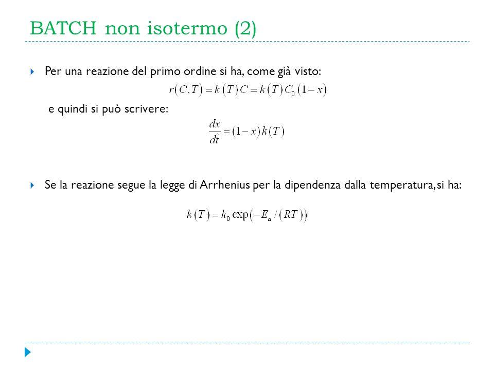 BATCH non isotermo (2) Per una reazione del primo ordine si ha, come già visto: e quindi si può scrivere: Se la reazione segue la legge di Arrhenius p
