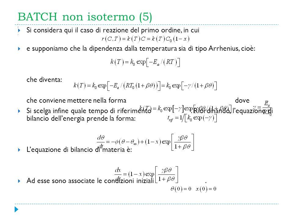 BATCH non isotermo (5) Si considera qui il caso di reazione del primo ordine, in cui e supponiamo che la dipendenza dalla temperatura sia di tipo Arrh