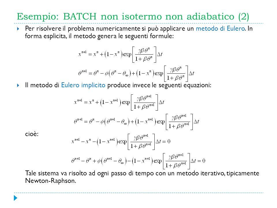 Esempio: BATCH non isotermo non adiabatico (2) Per risolvere il problema numericamente si può applicare un metodo di Eulero. In forma esplicita, il me
