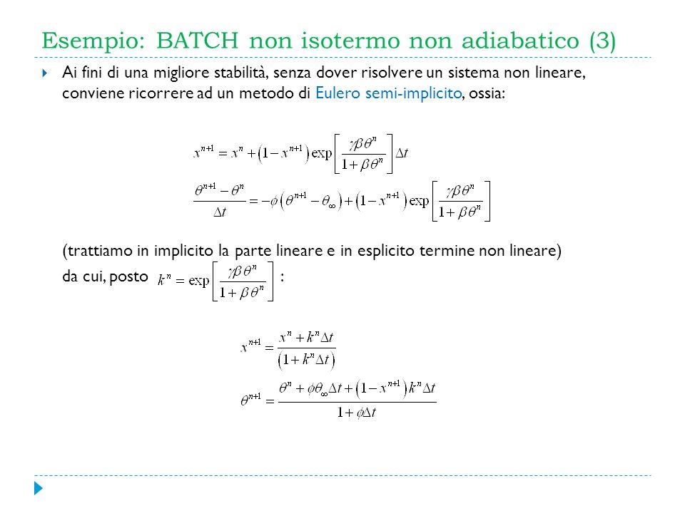 Esempio: BATCH non isotermo non adiabatico (3) Ai fini di una migliore stabilità, senza dover risolvere un sistema non lineare, conviene ricorrere ad