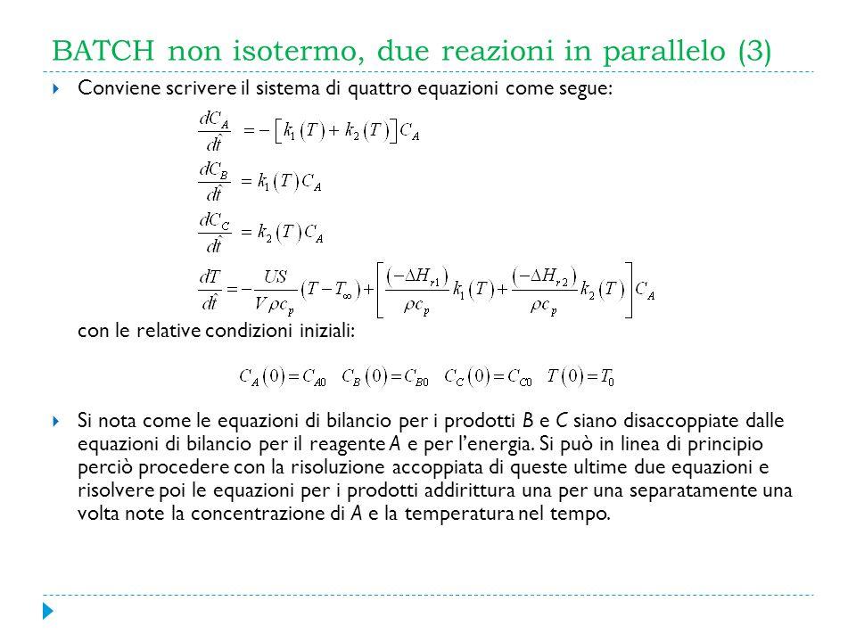 BATCH non isotermo, due reazioni in parallelo (3) Conviene scrivere il sistema di quattro equazioni come segue: con le relative condizioni iniziali: S