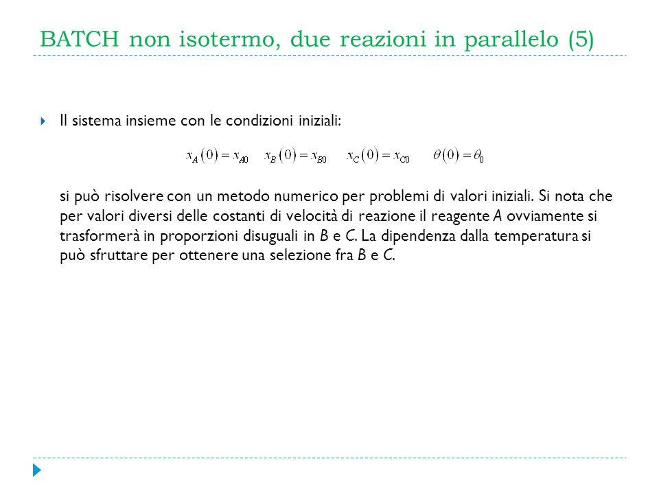 BATCH non isotermo, due reazioni in parallelo (5) Il sistema insieme con le condizioni iniziali: si può risolvere con un metodo numerico per problemi