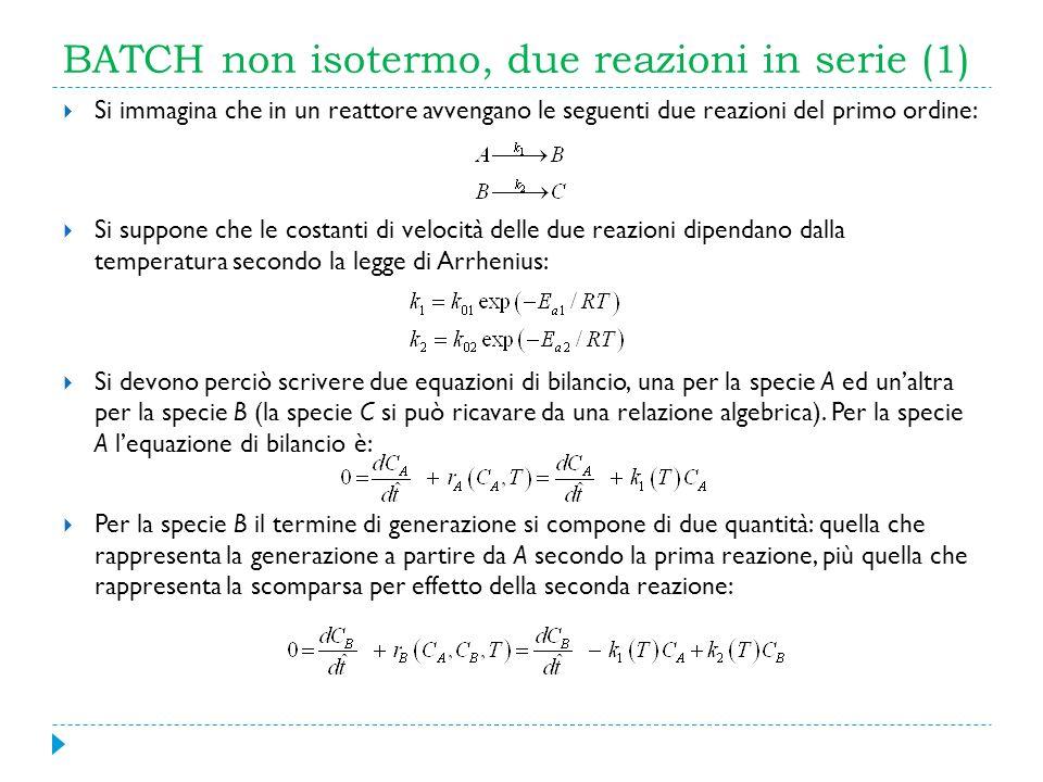 BATCH non isotermo, due reazioni in serie (1) Si immagina che in un reattore avvengano le seguenti due reazioni del primo ordine: Si suppone che le co