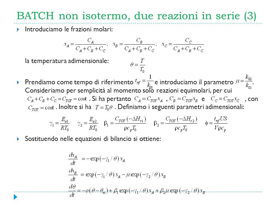 BATCH non isotermo, due reazioni in serie (3) Introduciamo le frazioni molari: la temperatura adimensionale: Prendiamo come tempo di riferimento e int