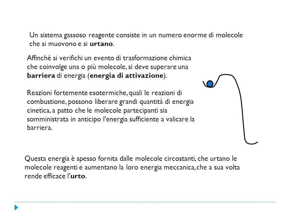 Affinché si verifichi un evento di trasformazione chimica che coinvolge una o più molecole, si deve superare una barriera di energia (energia di attiv