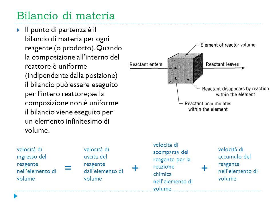 Bilancio di materia Il punto di partenza è il bilancio di materia per ogni reagente (o prodotto). Quando la composizione allinterno del reattore è uni