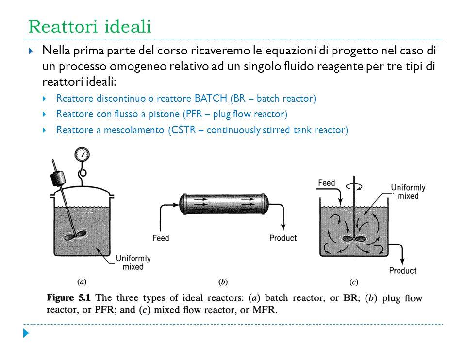 Reattori ideali Nella prima parte del corso ricaveremo le equazioni di progetto nel caso di un processo omogeneo relativo ad un singolo fluido reagent