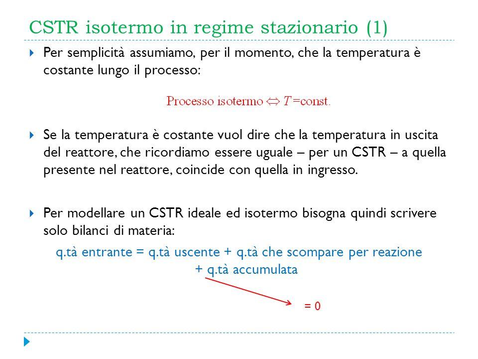 CSTR isotermo in regime stazionario (1) Per semplicità assumiamo, per il momento, che la temperatura è costante lungo il processo: Se la temperatura è