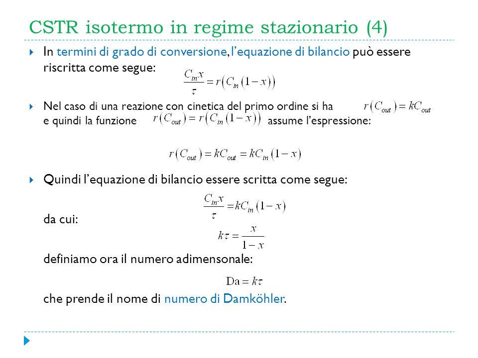 CSTR isotermo in regime stazionario (4) In termini di grado di conversione, lequazione di bilancio può essere riscritta come segue: Nel caso di una re