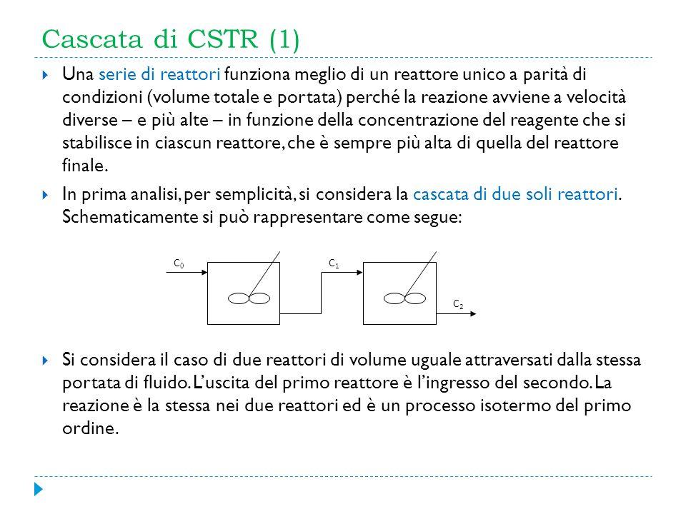 Cascata di CSTR (1) Una serie di reattori funziona meglio di un reattore unico a parità di condizioni (volume totale e portata) perché la reazione avv