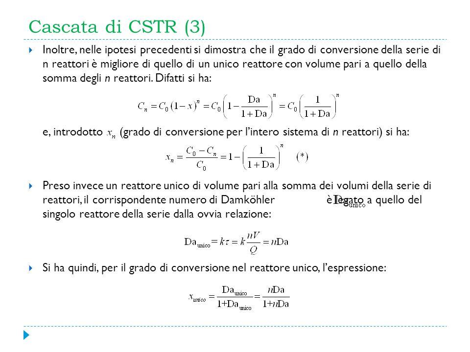 Cascata di CSTR (3) Inoltre, nelle ipotesi precedenti si dimostra che il grado di conversione della serie di n reattori è migliore di quello di un uni