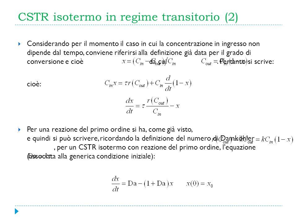 CSTR isotermo in regime transitorio (2) Considerando per il momento il caso in cui la concentrazione in ingresso non dipende dal tempo, conviene rifer