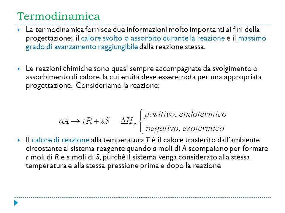 Termodinamica La termodinamica fornisce due informazioni molto importanti ai fini della progettazione: il calore svolto o assorbito durante la reazion