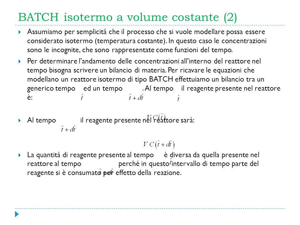BATCH isotermo a volume costante (2) Assumiamo per semplicità che il processo che si vuole modellare possa essere considerato isotermo (temperatura co