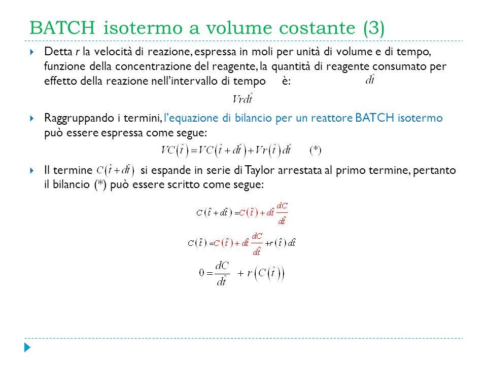BATCH isotermo a volume costante (3) Detta r la velocità di reazione, espressa in moli per unità di volume e di tempo, funzione della concentrazione d