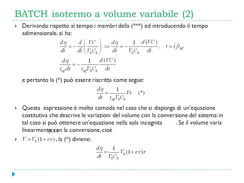 BATCH isotermo a volume variabile (2) Derivando rispetto al tempo i membri della (***) ed introducendo il tempo adimensionale, si ha: e pertanto la (*