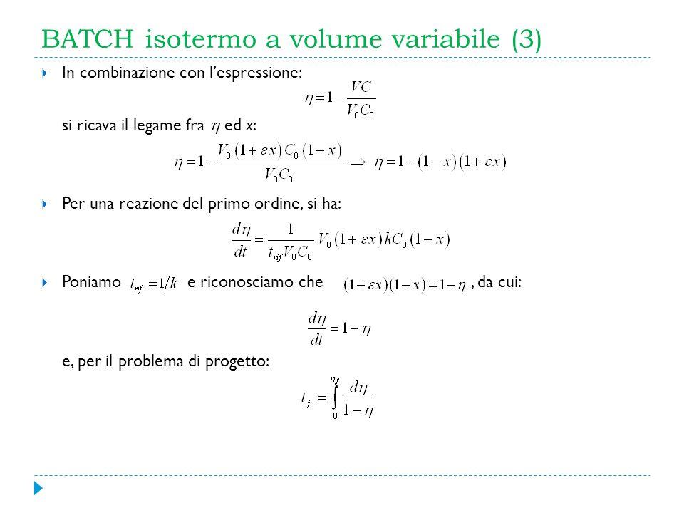 BATCH isotermo a volume variabile (3) In combinazione con lespressione: si ricava il legame fra ed x: Per una reazione del primo ordine, si ha: Poniam