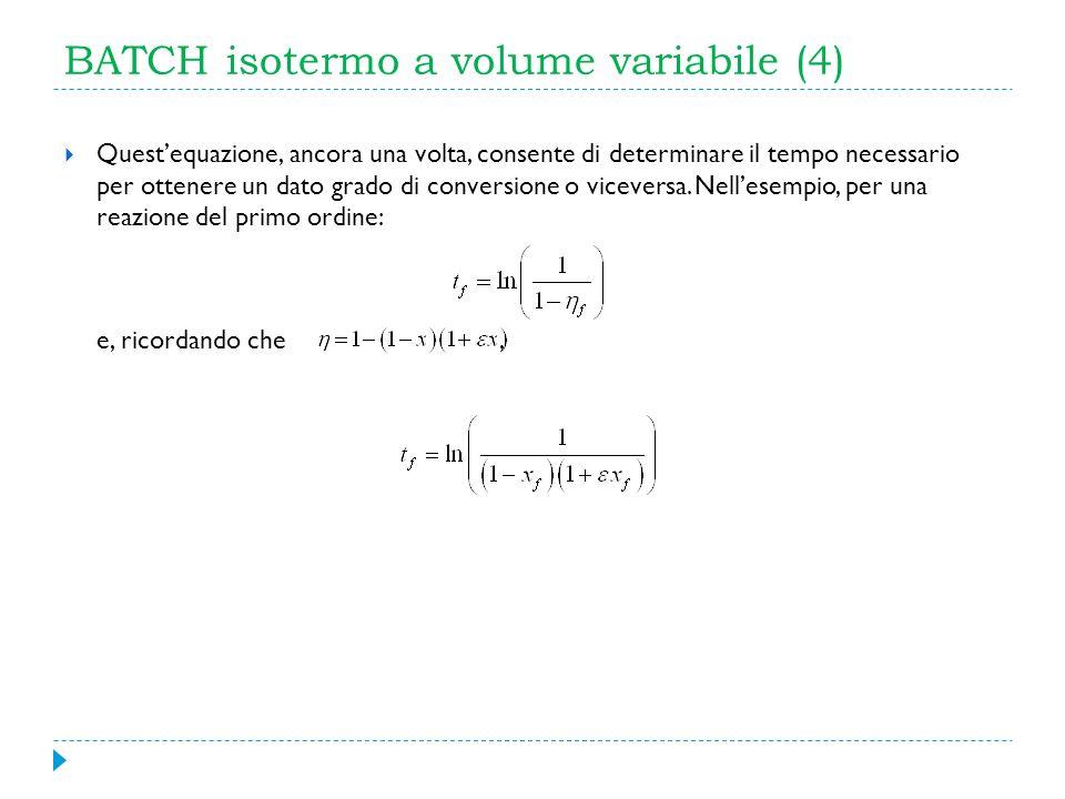 BATCH isotermo a volume variabile (4) Questequazione, ancora una volta, consente di determinare il tempo necessario per ottenere un dato grado di conv
