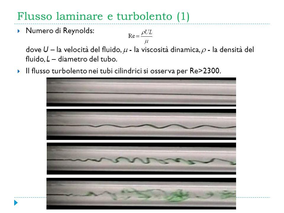 Flusso laminare e turbolento (1) Numero di Reynolds: dove U – la velocità del fluido, - la viscosità dinamica, - la densità del fluido, L – diametro d