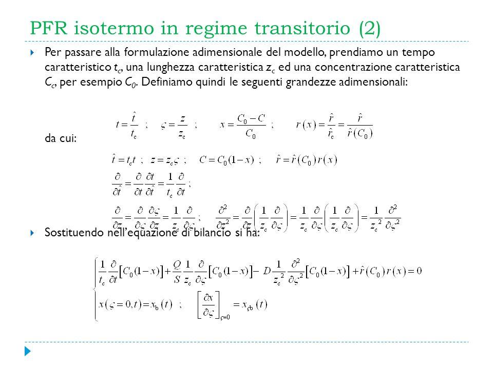 PFR isotermo in regime transitorio (2) Per passare alla formulazione adimensionale del modello, prendiamo un tempo caratteristico t c, una lunghezza c