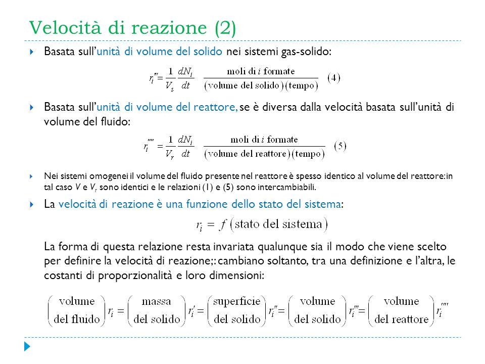 Velocità di reazione (2) Basata sullunità di volume del solido nei sistemi gas-solido: Basata sullunità di volume del reattore, se è diversa dalla vel