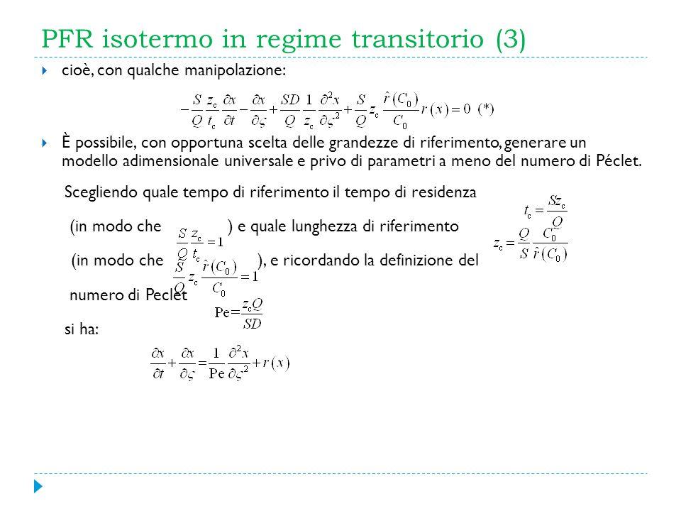 PFR isotermo in regime transitorio (3) cioè, con qualche manipolazione: È possibile, con opportuna scelta delle grandezze di riferimento, generare un