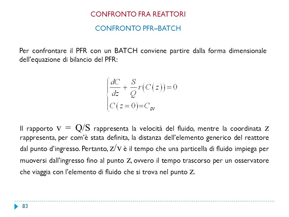 83 Per confrontare il PFR con un BATCH conviene partire dalla forma dimensionale dellequazione di bilancio del PFR: CONFRONTO PFR–BATCH Il rapporto v