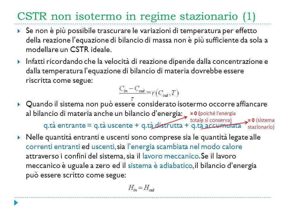 CSTR non isotermo in regime stazionario (1) Se non è più possibile trascurare le variazioni di temperatura per effetto della reazione lequazione di bi