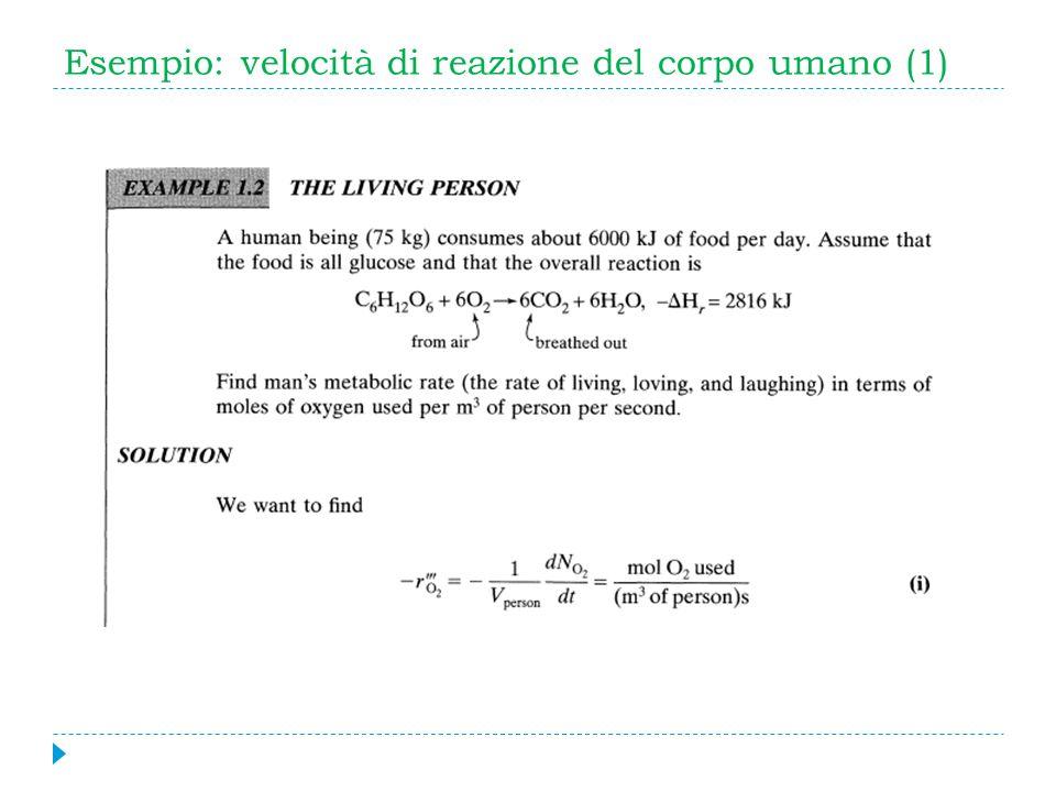 Esempio: velocità di reazione del corpo umano (1)