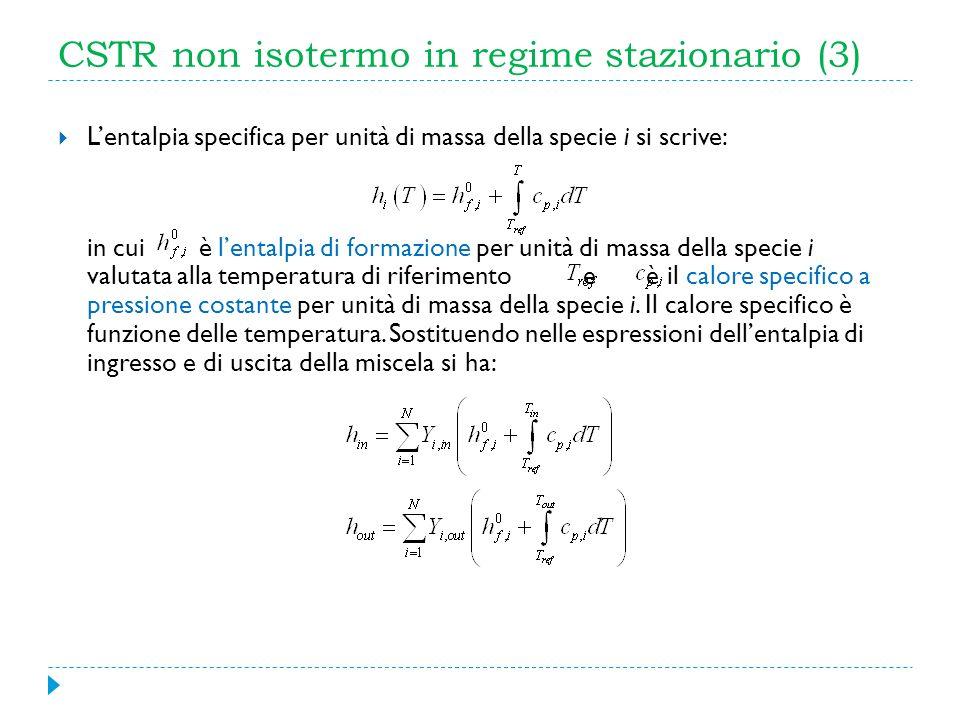 CSTR non isotermo in regime stazionario (3) Lentalpia specifica per unità di massa della specie i si scrive: in cui è lentalpia di formazione per unit