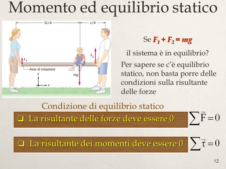 12 Momento ed equilibrio statico Condizione di equilibrio statico La risultante delle forze deve essere 0 La risultante delle forze deve essere 0 La r