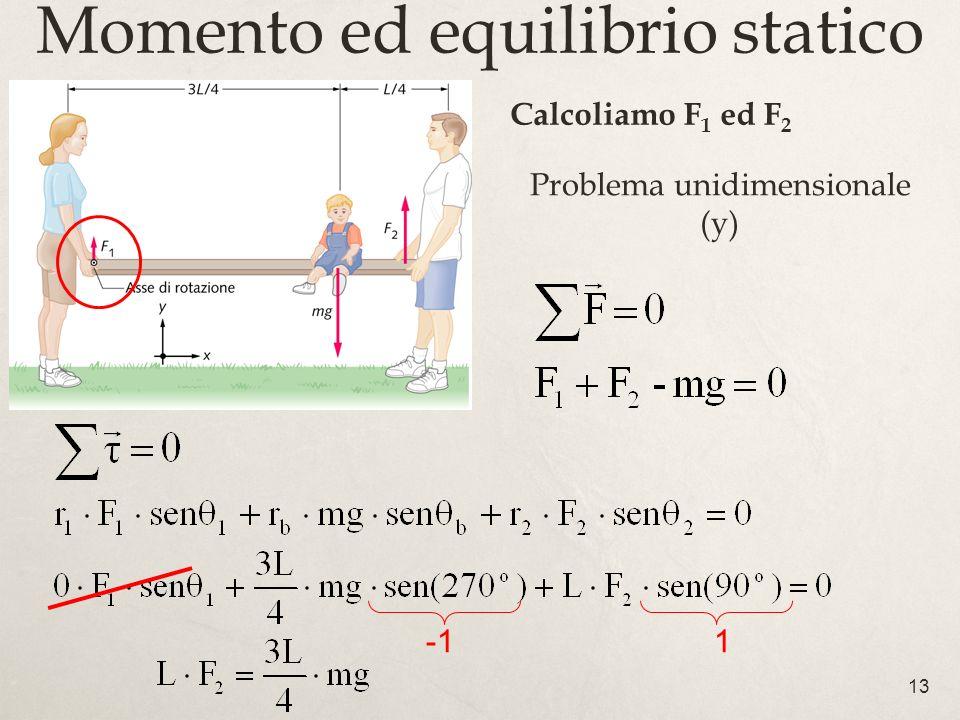 13 Momento ed equilibrio statico Problema unidimensionale (y) 1 Calcoliamo F 1 ed F 2