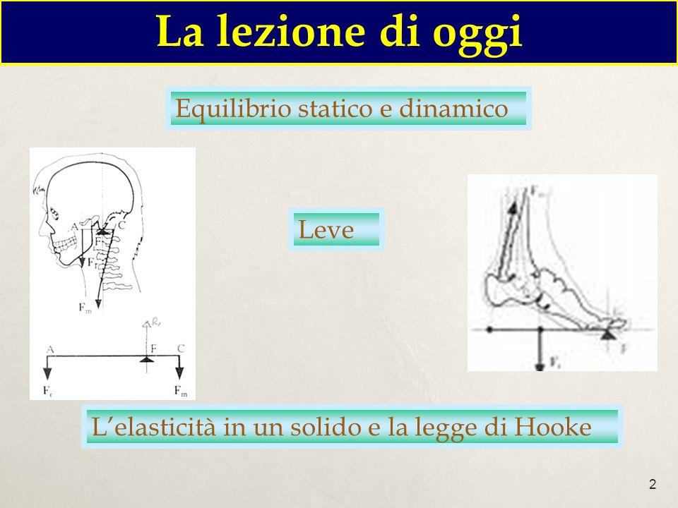 2 Lelasticità in un solido e la legge di Hooke La lezione di oggi Equilibrio statico e dinamico Leve