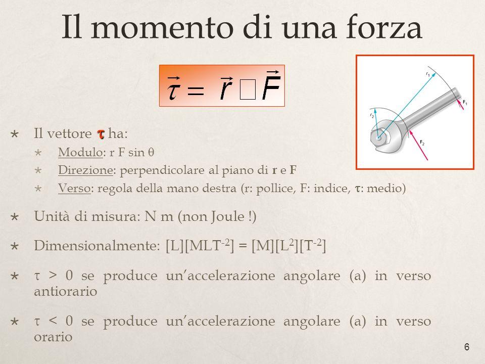 Il momento di una forza 6 Il vettore ha: Modulo: r F sin Direzione: perpendicolare al piano di r e F Verso: regola della mano destra (r: pollice, F: i