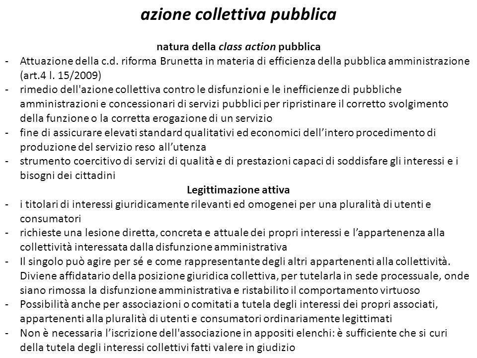 azione collettiva pubblica natura della class action pubblica -Attuazione della c.d. riforma Brunetta in materia di efficienza della pubblica amminist
