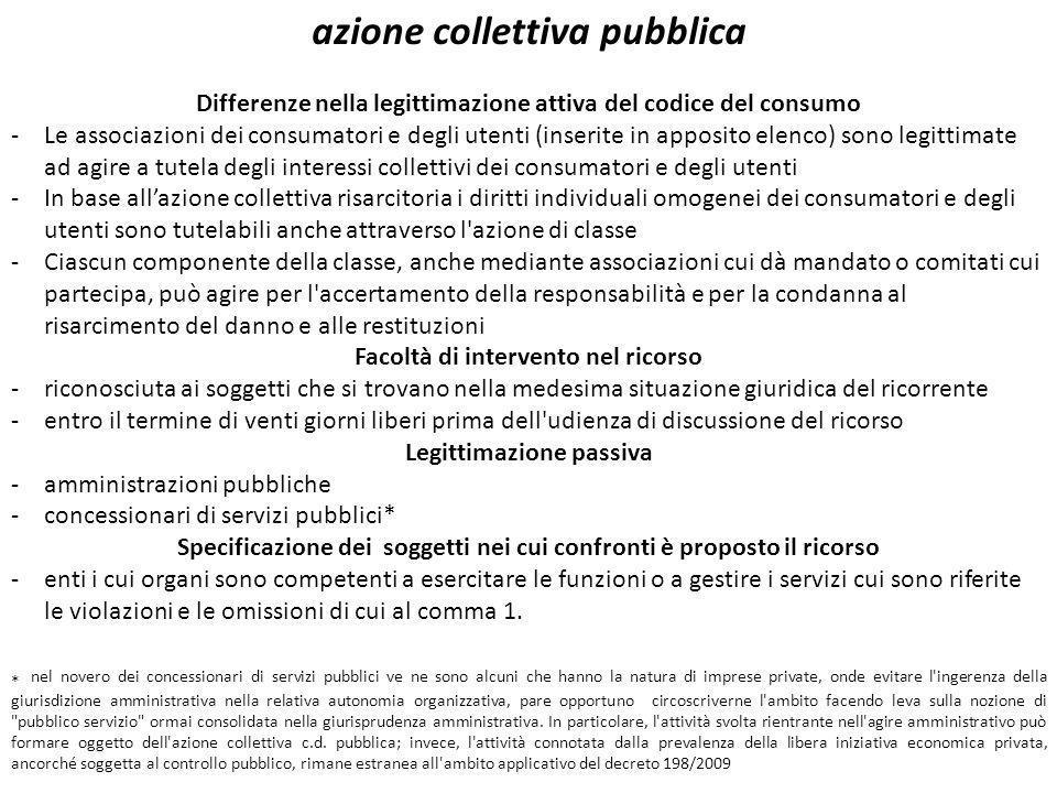 azione collettiva pubblica Differenze nella legittimazione attiva del codice del consumo -Le associazioni dei consumatori e degli utenti (inserite in