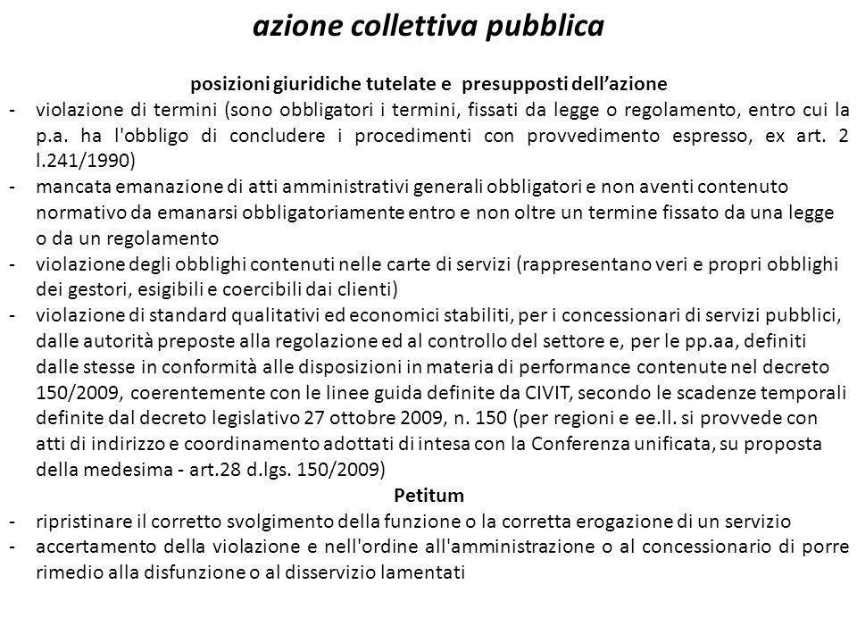 azione collettiva pubblica posizioni giuridiche tutelate e presupposti dellazione -violazione di termini (sono obbligatori i termini, fissati da legge o regolamento, entro cui la p.a.