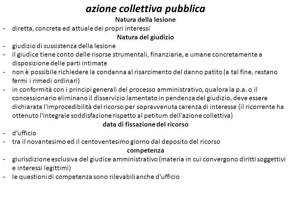 azione collettiva pubblica Natura della lesione -diretta, concreta ed attuale dei propri interessi Natura del giudizio -giudizio di sussistenza della